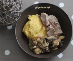 Rôti de veau, polenta crémeuse au parmesan
