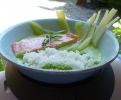 pavés de saumon,riz,fenouil,sauce fanes de radis