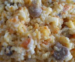 Risotto chèvre, champignons et carottes