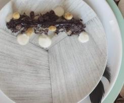 Boudin noir et asperges blanches, rhubarbe confite