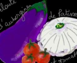 Velouté de pâtisson blanc, aubergines et tomates