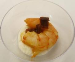 Bouchée au fromage frais et sa crevette au chorizo