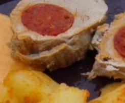 Filet mignon au chorizo et accompagnements