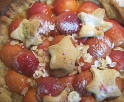 Tarte abricots amandes éfilées, pâte sablée pistache