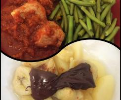 Sauté de dinde sauce tomate et vin, haricots vapeur & papillote poire-banane