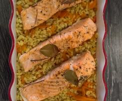 Pavés de saumon, sauce citron, blé, tagliatelles de carottes