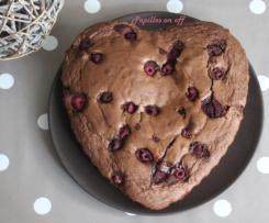 Gâteau au chocolat, pâte de spéculoos et framboises