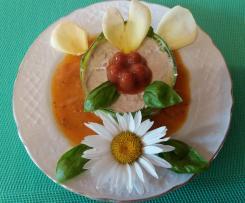 Timbales de  courgettes au thon et cœur de tomate