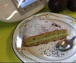 Gâteau à l'avocat, amandes et graines de pavot
