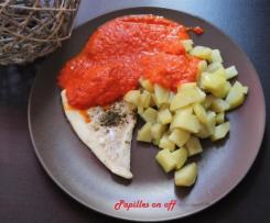 Cabillaud, pommes de terre, sauce aux poivrons