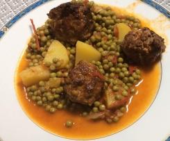 Mijoté de boulettes de boeuf aux petits pois