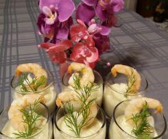 Verrine de mousse de chou -fleur et crevettes