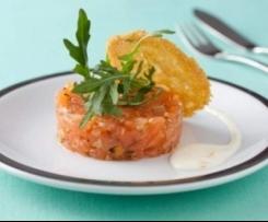 Tartare de saumon au citron confit et ras el hanout, crème acidulée au mascarpone