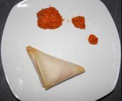 samossas poivron rouge, ail & persil