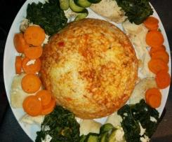 poulet, riz bolognaise et petits légumes