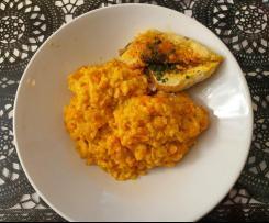 Risotto aux courgettes et carottes et escalope de poulet
