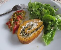 Roulé aux carottes, oseille (ou épinards) et fromage frais et sa compotée de poivrons