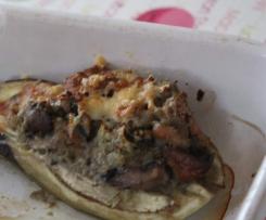 Aubergines farcies aux champignons