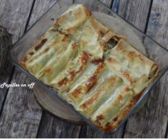 Canneloni de poireaux au gorgonzola sur leur lit de tomate