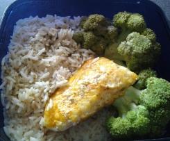 dos de cabillaud avec riz et brocolissauce à l'oseille