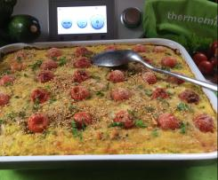 Gratin de courgettes, tomates cerise, semoule aux épices douces