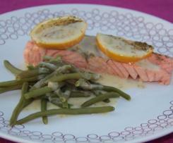Saumon haricots vert sauce concombre