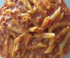 Pâtes tomate chorizo jambon(façon one pot pasta)