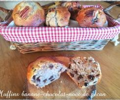 Muffins banane-chocolat-noix de pécan