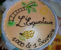 Bienvenus en Equateur! (biscuit chocolat, crème chocolat banane & mousse passion)