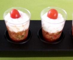Verrine de tartare de tomates courgette et chèvre échalote ciboulette