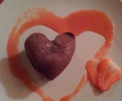 Fondant au chocolat coeur coulant aux fraises
