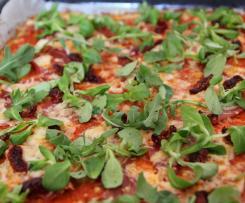 pizza légère jambon cru roquette - base chou fleur