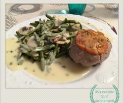 Paupiettes en sauce, champignons et légumes