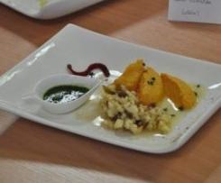 Mousseline de butternet accompagnée de sa vinaigrette aux pommes et de son pesto de persil