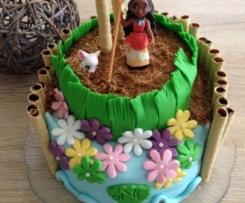 Gâteau Vaiana (Moana) en pâte à sucre