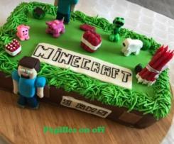 Gâteau Minecraft 2, en pâte à sucre