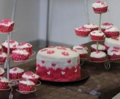 Cupcakes vanille / ganache montée au chocolat, recouverts de pâte à sucre