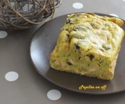 Cake aux miettes de saumon, champignons et curcuma