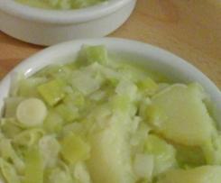 Fondue de poireaux-pommes de terre cancoillotte