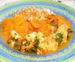 Curry de saumon épicé aux carottes / dessert poires au chocolat
