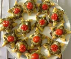 Mini pizzas mozarella pesto tomate