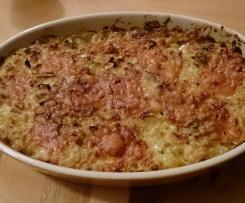 Gratin de pâtes curry, poulet, poireaux