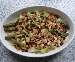 gratin aux asperges vertes, parmesan et ammandes éffilées