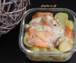 Gratin de pommes de terre au saumon fumé et à la ricotta