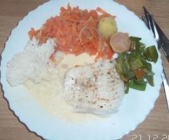 Filet de julienne au beurre blanc et petit légumes