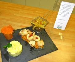 Ballotines poulet chorizo brebis, trilogie de légumes, son écrasé pomme de terre à la truffe et sauce chorizo avec déclinaison d'épluchures