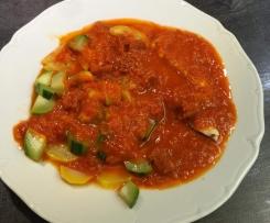 Poulet courgettes, sauce chorizo