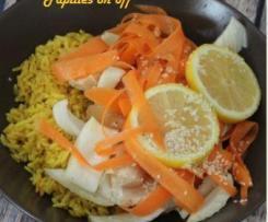 Poulet au citron, riz au curcuma et leurs légumes