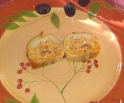 Baguette farcie au chorizo, poivron, olives et gruyère