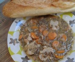 Filet mignon, carottes et lentilles vertes